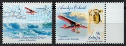 Map USA Britain - Ocean - 2007 Serbia - Amelia Earhart - Airplane - Woman Pilot MNH  / With LABEL CINDERELLA VIGNETTE - Aerei