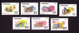Tanzania, Scott #985I-985O, Mint Hinged, Bicycles, Issued 1992 - Tanzanie (1964-...)