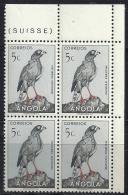 Angola 1951 Birds In Natural Colors Birds Of Prey Dark Chanting Goshawk Block Of 4 MNH - Eagles & Birds Of Prey