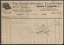 Fatura - Invoice Portugal - Lisboa 1919 - The Smith Premier Typewriter Moura Campos - Vinheta Imposto Selo - Advertising - Portugal