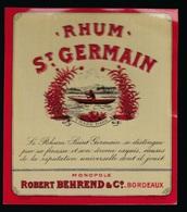 "Ancienne étiquette Rhum  St Germain  Monopole Robertehrend & Cie Bordeaux  ""barque"" Etiq Vernie - Rhum"