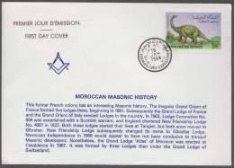 Moroccan Masonic History, First Masonic Lodge Formed In 1891 Freemasonry Masonic Cover 1988 Morocco - Unclassified