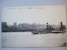 PARIS / CRUE DE LA SEINE / LE PONT DES ARTS / JOLIE CARTE ANIMEE (BATEAUX) - Alluvioni Del 1910
