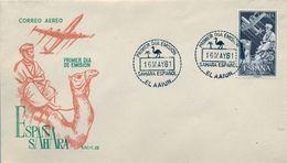 1961 , SAHARA ESPAÑOL , SOBRE DE PRIMER DIA , ED. 189 , INDÍGENA Y AVIÓN EN VUELO - Sahara Español