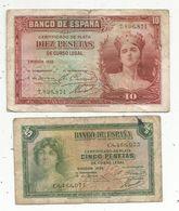 Billet , ESPAGNE , Banco De ESPANA, Emision 1935 , Cinco,5 Et Diez ,10 Pesetas ,LOT 2 BILLETS , 2 Scans - [ 2] 1931-1936 : Republic