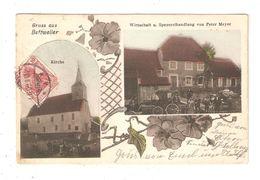 CPA - 67 - BETTWEILER - Gruss Aus Bettweiler - Wirtschaft U. Spezereihandlung Von Peter Meyer Kirche 1908  Colorisée - Andere Gemeenten