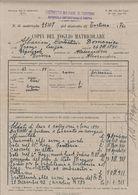 FOGLIO MATRICOLARE 6, 61 E 46° REGGIMENTO FANTERIA + TRIPOLITANIA - MORTO 20/8/1917 - DISTRETTO DI TORTONA - 17/9/1937 - Documenti