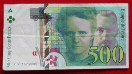 Billet 500 F Pierre Et Marie Curie N° N 012675008 - 1992-2000 Dernière Gamme