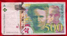 Billet 500 F Pierre Et Marie Curie N° Q 031811746 - 1992-2000 Dernière Gamme