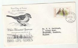 1969 Winnipeg CANADA FDC SPARROW Bird  Cover Stamps Birds - Sparrows