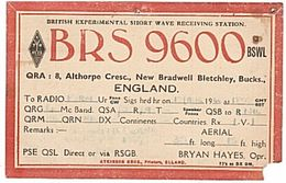 CARTE - QSL - RADIO - ENGLAND - ANGLETERRE - 1944 - NEW BRADWELL. - Radio Amateur
