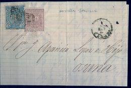 1875 , SEVILLA - OSUNA , CARTA CIRCULADA , FR. 153 , 154 VARIEDAD DE COLOR - 1875-1882 Royaume: Alphonse XII