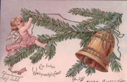 Ein Frohes Weihnachtsfest, Angelots Et Cloche, Litho Gaufrée (891) - Anges