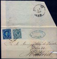 1877 , JAÉN , ENVUELTA CIRCULADA ENTRE LINARES Y MADRID , LLEGADA , ED. 175 , 183 - 1875-1882 Royaume: Alphonse XII