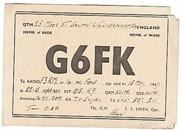 CARTE - QSL - RADIO - ENGLAND - ANGLETERRE - 1947- . - Radio Amateur