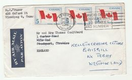 1965 Air Mail Kendra CANADA COVER Multi FLAG Stamps To STOCKPORT GB Redirected - 1952-.... Regno Di Elizabeth II