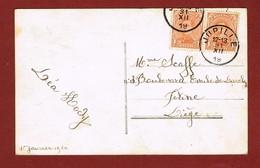 Jupille  Noodstempel Fortune Op Nieuwjaarskaart 1919 - Griffes Linéaires