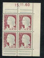France ** N° 1263 - Marianne De Décaris  De Carnet En Boc De 4 Bord De Carnet Daté 15/11/60 - Unused Stamps