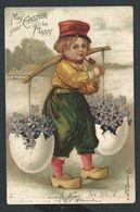 +++ CPA  Fantaisie - Pâques - Easter - Enfant En Sabots - Fleur Violette - Pipe     // - Portraits