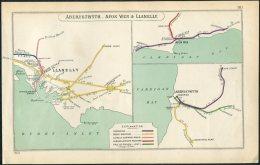 Wales Aberystwyth, Afon Wen & Llanelly Railway Map. Great Western - Geographical Maps