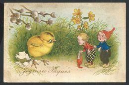 +++ CPA  Fantaisie - Pâques - Poussin - Enfant - Lutin   // - Pâques