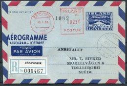 1957/1962/1966 Iceland Aerogramme, Aerogram, Loftbref. Reykjavik Postur. Registered Kopavogur - Postal Stationery