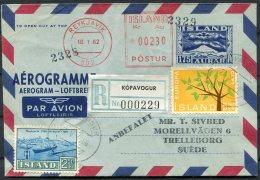 1966 Iceland Aerogramme, Franking Machine Reykjavik, Registered Kopavogur Europa - Entiers Postaux
