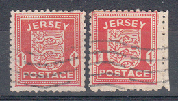 Jersey 1941 1d Arms Pair (Thin & Thick Paper) Used - Jersey