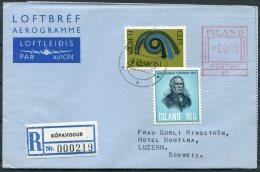 1973 Iceland Aerogramme Postur Registered Kopavogur - Hotel Montana, Luzern, Switzerland Europa - 1944-... Repubblica