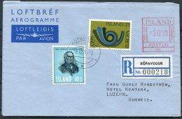 1973 Iceland Aerogramme Postur Registered Kopavogur - Hotel Montana, Luzern, Switzerland Europa - 1944-... Republic