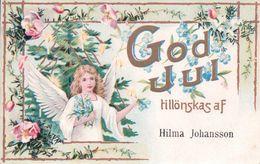 God Jui Tillönskas Af Hilma Johansson, Ange Et Fleurs, Litho (892) - Anges