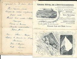 Menu 1924  + Carte De Visite GRAND HOTEL DE L'APOTHICAIRERIE. BELLE-ILE-EN-MER - Menus