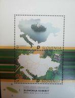 L) 2002 SLOVENIA, MAP, MEETING  OF PRESIDENT OF CENTRAL EUROPAN STATES, SLOVENIA SUMMIT, TERRITORY, NATURE, MNH - Slovenia