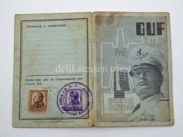 FASCISMO Tessera Fascista GUF Trieste - 1939-45
