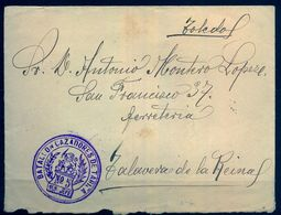 1911 , CÁDIZ , SOBRE CON FRANQUICIA DEL BATALLÓN DE CAZADORES DE TARIFA Nº 5 , CIRCULADO A TALAVERA DE LA REINA , LLEGAD - 1889-1931 Regno: Alfonso XIII