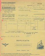 1953: Bon D' ## Ag. En Douane F. HALBART&Cie, Rue Vanden Boogaerde, 19-21, BR. ##  Aux ## Ets.BECKER, Rue Masui, 220,... - Transport