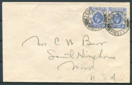 1936 Hong Kong KG5 20c Rate Cover - USA - Covers & Documents