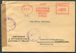 1947 Praha Prague Franking Machine, Meter Mark Censor Cover - Austria - Czechoslovakia