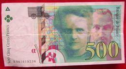 Billet 500 F Pierre Et Marie Curie N° B 001619538 De 1994 - 1992-2000 Dernière Gamme