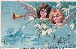 Fröhliche Weihnachten, Anges Musiciens Et Fleurs, Litho (953) - Anges