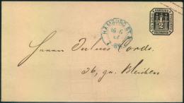"""1867, 1/2 Sch. Ganzsachenumschlag Als Ortsumschlag Rückseitig Mit Ovalstempel """"""""St.P.A."""""""" - Hamburg"""