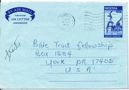 Nigeria Aerogramme Sent To USA 11-4-1990 - Nigeria (1961-...)