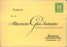 """1924, Privatganzsachenkarte 5 Pfg. Wappen """"""""An Die Allgemeine Glasindustrie - Stettin"""""""", Sauber Ungebraucht. - Deutschland"""