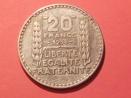 TRES BON ETAT ARGENT 20 FRANCS TURIN  1938   TTB+++ Non Nettoyé - L. 20 Francs