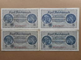 Germany 5 Reichsmark 1940 (Lot Of 4 Banknotes) - 5 Reichsmark