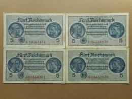 Germany 5 Reichsmark 1940 (Lot Of 4 Banknotes) - [ 4] 1933-1945 : Troisième Reich