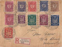 DR R-Brief Mif Minr.199-204,212,215-218 SST Berlin 19.10.22 Sonder-R-Zettel PWZ-Ausstellung 1922 - Deutschland