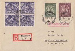 DR R-Brief Mif Minr.4x 834,860,861 München 12.8.44 Gel. Nach Bad Liebenwerda - Briefe U. Dokumente