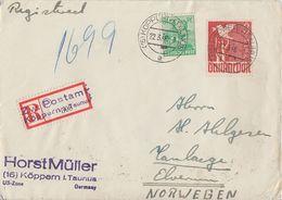 Gemeina. R-Brief Mif Minr.958,961 Köppern Im Taunus Gel. Nach Norwegen Devisenkontrolle - Gemeinschaftsausgaben