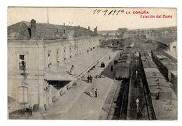 CPA La Coruna Corogne Galice Galicia Espagne Espana Train à Vapeur Station Du Nord Estacion Del Norte - La Coruña